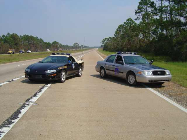 Florida and Alabama Highway Patrol on I-10 in Gautier, Miss.