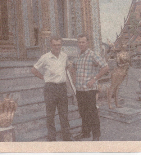 17-Left is believed to be Hank Stockhoff, and Dillard Massengale on the right, while they wereon R & R in Bangkok, Thailand, 1967 - 1968.