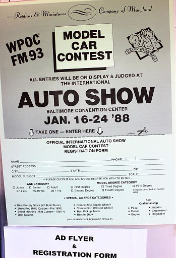 MAMA's first model car contest flier.