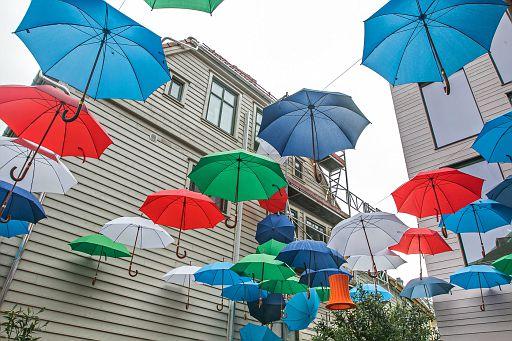 Umbrella art in Bergen